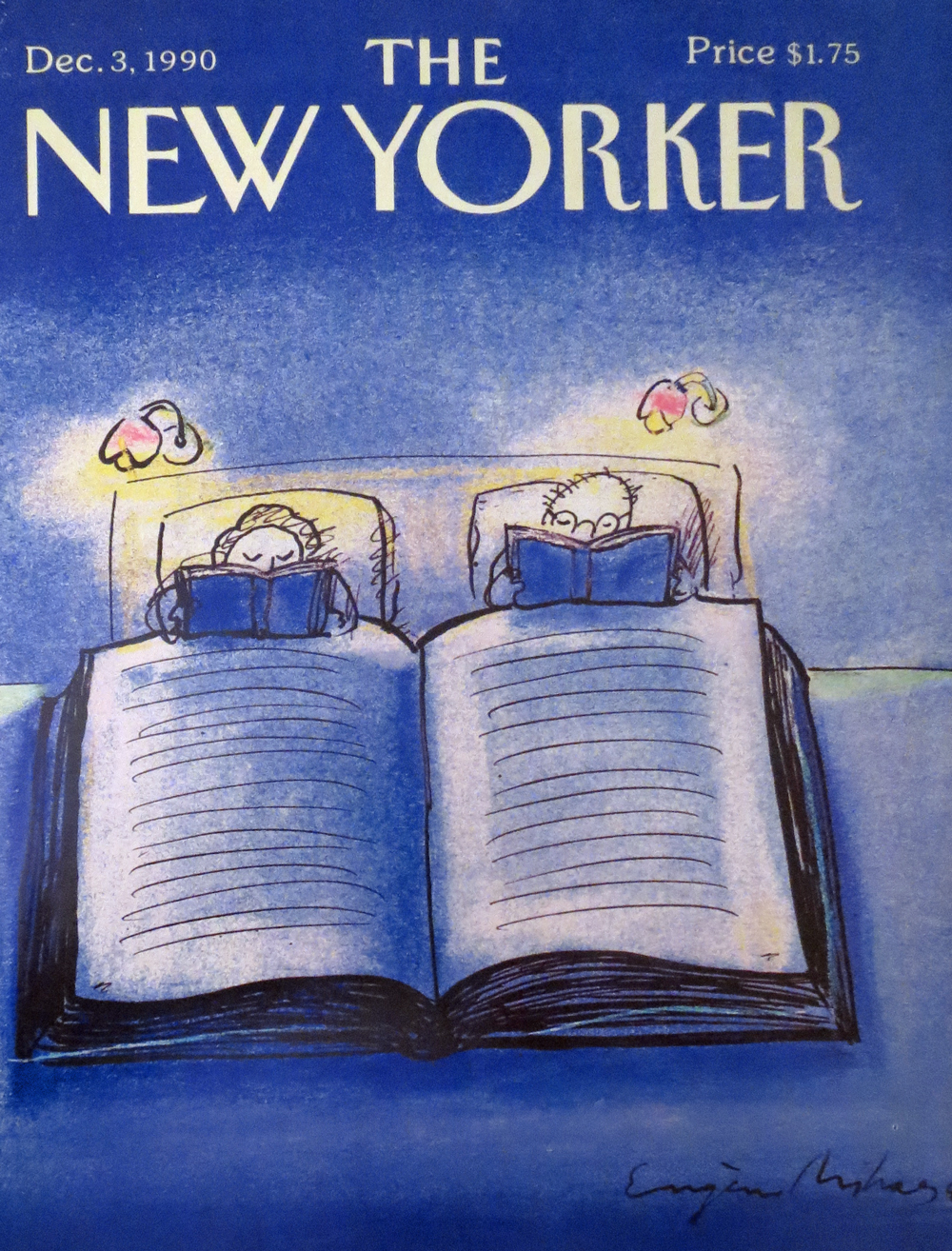 Woman and man reading in bed New Yorker 1990